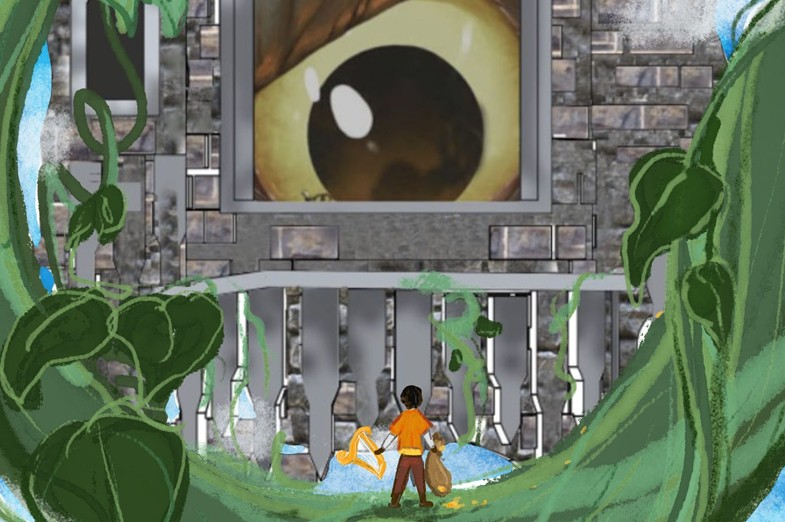 Illustration of the character Jack looking up at a giant eyeball peering at him through a castle window, with a large vine encircling the castle wall.