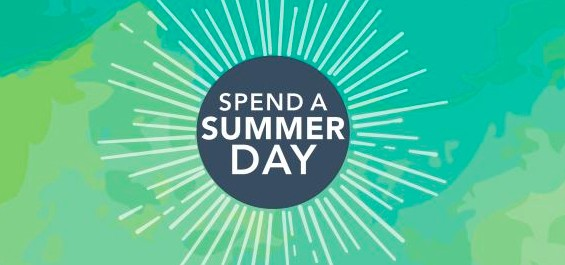 Spend a Summer Day text in a blue and green stylized sun graphic