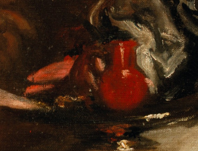 Closeup of a red vase/vessel from the painting on the cover of Contamination and Purity in Early Modern Art and Architecture