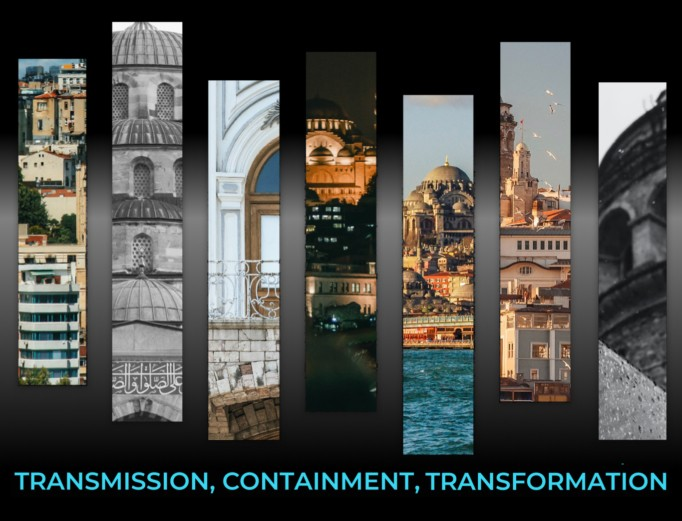 Cropped vertical 'slices' of buildings and city scenes gridded above the words: Transmission, Containment, Transformation.