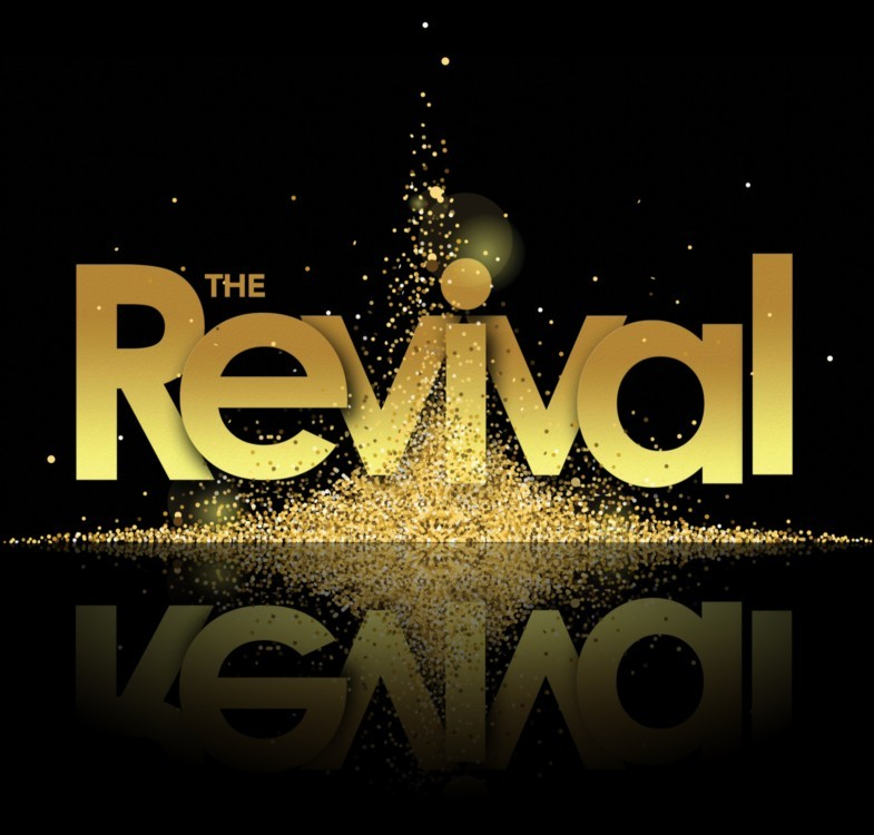The Revival – letters overlapping and surrounded by shimmering lights. wo