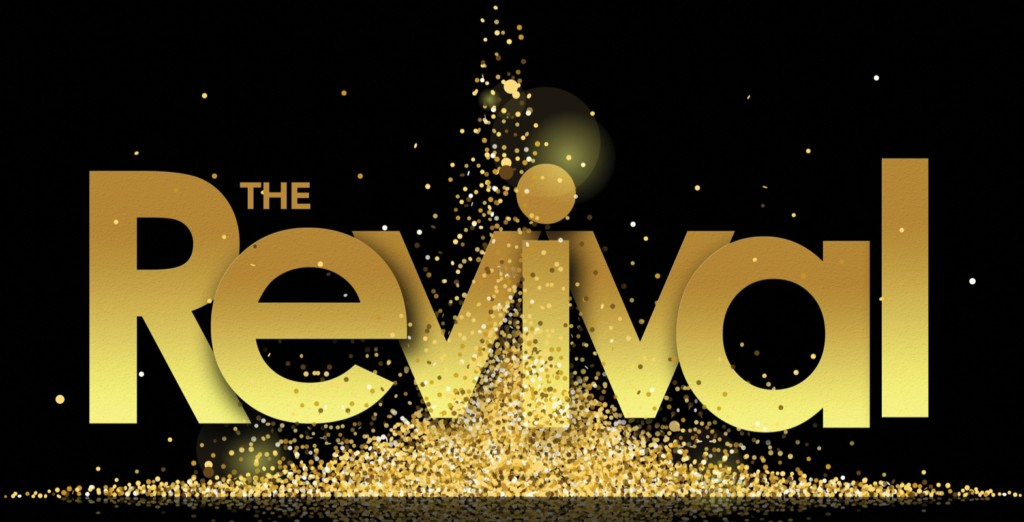 The Revival graphic header in gold with sparkly lights
