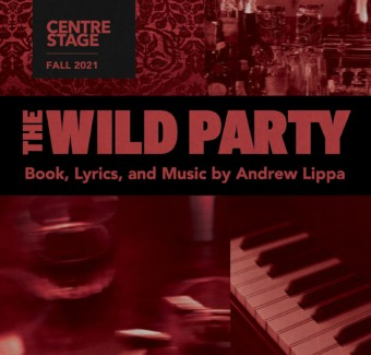 The Wild Party play image collage showing piano keys, paisley fabric, and drinks ware as Prohibition ephemera.